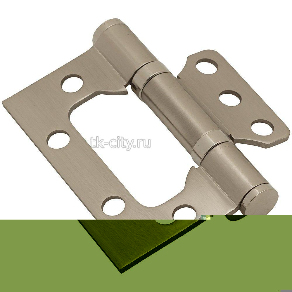 для складных дверей - Петля без врезки стальная 2ВВ 75*63*2,5 SN МатНикель